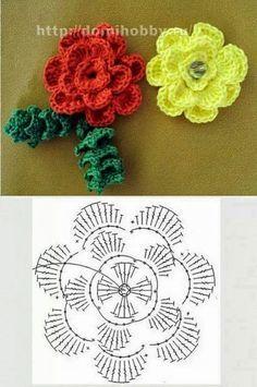 My chest Inspirations: Spring Flowers Diy Crochet Flowers, Crochet Flower Tutorial, Crochet Flower Patterns, Crochet Stitches Patterns, Fabric Flowers, Crochet Diagram, Crochet Motif, Crochet Doilies, Crochet Cross