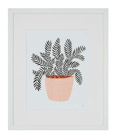 Potted Plant by Amy Blackwell This print offers a natural vibe with a simple, mod color palette that makes it anything but your grandmother's flower art. Framed, 17 by 21 inches.  To buy: $175, serenaandlily.com.