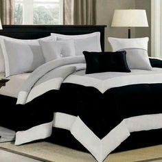 Black White Bedding Sets Ideas – Decorating Ideas - Home Decor Ideas and Tips Black White Bedrooms, Black White Bedding, Dream Bedroom, Home Bedroom, Bedroom Decor, Bedroom Ideas, Master Bedroom, Bedroom Romantic, Bedding Decor