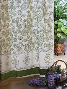 Paisley Fraiche ~ Lime Green Cream Beautiful Elegant Curtain