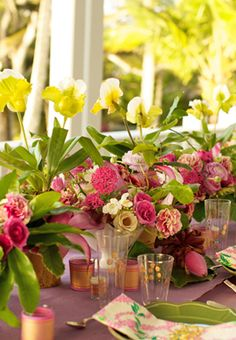 Wedding flowers tip: use full potted plants for easy dense centerpieces.