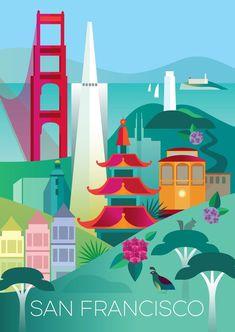 San Francisco, California Hawaii Travel, Travel Usa, Japan Travel, Photo Vintage, Vintage Images, French Vintage, Travel Illustration, California Dreamin', Advertising Poster