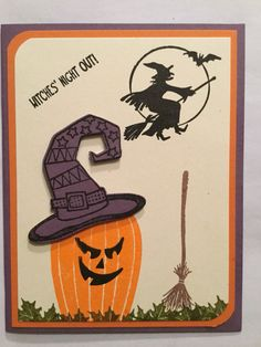 Used retired SU Carved & Candlelit, Tee-Hee-Hee, Leaf from Autumn a Days… Easy Halloween Drawings, Halloween Cards, Spooky Halloween, Holidays Halloween, Happy Halloween, Fall Cards, Holiday Cards, Moon Witch, Hampton Art