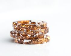 Resin Stacking Ring Copper Gold Flakes Thin Small Ring OOAK brown boho minimalist jewelry rusteam