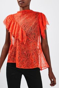 Lace '80s Ruffle Top By Boutique