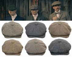 07eebc64245 Mens Tweed Newsboy Cap Peaky Blinders Baker Boy Flat Check Grandad Hat