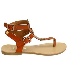 Fity Tan Gold Buckle Ankle Strap Sandals