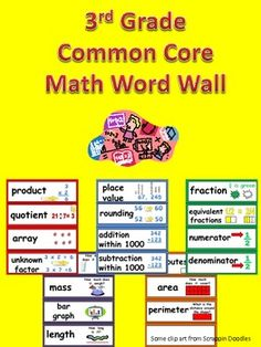 This packet has word cards for important vocabulary words in the Math Common Core State Standards for 3rd Grade.     The cards are illustrated to help students understand the meaning of each word. They are also color-coded by domain. $