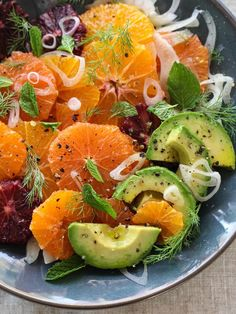 (Omit honey; use balsamic vinegar for H-Burn) Citrus Fennel and Avocado Salad is right in season -- citrus and avocados are smack dab on the cusp of winter meets spring, and shallots too. Serves 7 as a lunch side.