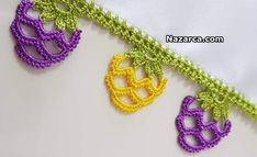 mor-sari-uzum-oyasi Hand Embroidery Videos, Lace Bracelet, Crochet Decoration, Jewelry Model, Bracelet Tutorial, Crochet Lace, Cross Stitch Patterns, Beaded Jewelry, Crochet Earrings