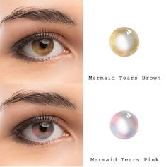Mermaid Tears series: Brown and pink Contact Lenses For Brown Eyes, Coloured Contact Lenses, Color Contact Lenses Online, Fashion Contact Lenses, Best Contact Lenses, Makeup Art, Eye Makeup, Mermaid Eyes, Change Your Eye Color