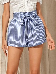 ((Affiliate Link)) Description Style:	Boho Color:	Blue and White Pattern Type:	Striped Details:	Belted, Pocket, Paper Bag Waist Type:	Wide Leg Season:	Summer Composition:	70% Cotton, 30% Polyester Material:	Cotton Fabric:	Non-stretch Sheer:	No Fit Type:	Loose Waist Type:	High Waist Closure Type:	Elastic Waist Belt:	Yes