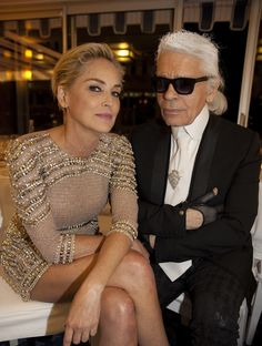 Sharon Stone & Karl Lagerfeld #VanityFair #Party #Cannes2015 #leonorgreyluk #leonorgreyl #glamourous #hair #natural products