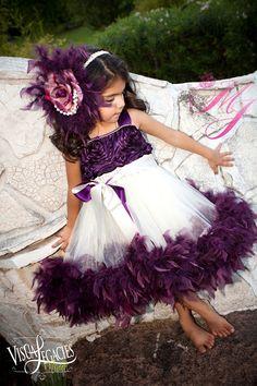 Plum Devine Girls Rosette Fluffy Dress by sharpsissors on Etsy