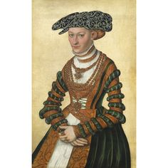 Lucas Cranach II PORTRAIT OF A LADY, THREE-QUARTER LENGTH, IN A GREEN VELVET AND ORANGE DRESS AND A PEARL-EMBROIDERED BLACK HAT. 24 1/4 by 15 1/2 in.
