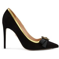 Gucci Suede Point Toe Pump ($770) ❤ liked on Polyvore featuring shoes, pumps, women, suede shoes, black bow pumps, black shoes, suede pointed toe pumps and gucci shoes