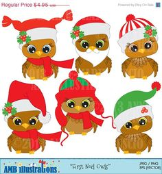 80% OFF Cute Christmas Baby Owl for clipart by AMBillustrations. If you want…