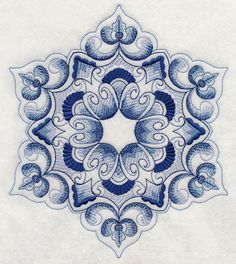 Delft Blue Snowflake 1 design (H9514) from www.Emblibrary.com