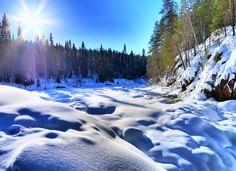 Frozen Kiutaköngäs Rapids, Finland jigsaw puzzle