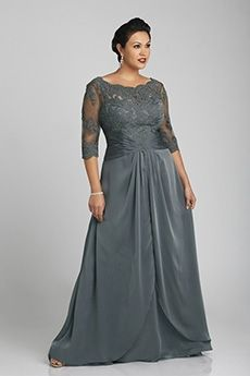 48d96670ed2 Plus Size Lace Bodice with Length Sleeves Chiffon Long Mother of the Bride    Wedding Guest Dresses 7503