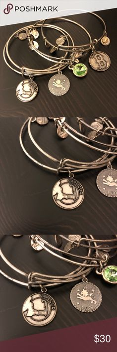 Bundle 4 Alex and Ani Silver Bangle Bracelets These are tarnished. See photos for details. There is the August birthstone, Leo, cape cod and Red Sox. Great for a Boston girl born in August ✊🏻 Alex and Ani Jewelry Bracelets