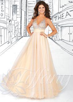 Tiffany Designs 16030 - Champagne White Halter V-Neck Tulle Prom Dresses Online