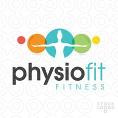 Logo for sale: fun modern colourful physio balls with a person arms reaching outwards within the white space. Yoga Logo, Gym Logo, Fitness Logo, Workout Fitness, Fitness Shirts, Mind Gym, Logo Sport, Sports Therapy, Gym Interior
