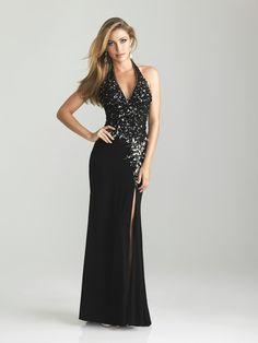 Sheath/Column Halter Sleeveless Floor-length Chiffon Prom Dress #FC505