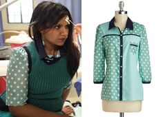 465ddbfae6 Mindy's shirt got another price cut! themindyprojectstyle: Mindy wore this  mint polka dot blouse with a contrast collar under her sweater vest in last  ...