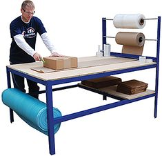 The Vestil MPPB-4794 Packaging Bench is a multi-purpose packaging table that features a wood surface that is durable yet soft so it will not damage products. The elevated tower holds two rolls of packaging paper or bubble wrap. An extra roll of material may be stored under the table. An under table storage shelf is perfect for holding boxes, tape, tools, etc. The Vestil MPPB-4794 ships knocked-down, assembly required.     The Vestil MPPB-4797 Packaging Bench normally leaves the warehouse in…