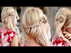 ▶ Braided half up half down hairstyle with side swept curls (hair tutorial)