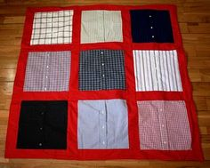 mens shirt baby quilt  only, for safety you'd have to take the buttons off and sew the bands together.