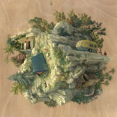 Cinta Vidal paints wondrous little planets that will have you turning your screen/head upside down and wishing you could spin the worlds around to see what else is happening. Beautiful mix of people, houses, plants, camping and more...