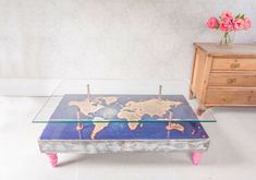 Add character to your home with this stunning 3 piece hand distressed World Map Coffee Table with Glass Top by Cappa E Spada. This eye-catching world map imaged coffee table is made from spruce wood. Glass Top Coffee Table, Coffee Tables, Bespoke Furniture, Furniture Design, Grey Stain, Safety Glass, Vintage Table, Product Launch, Kids Rugs