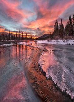 ~~Fire and Ice ~ Canadian Rockies by Jeffrey Wu Photography~~ Stunning photograph. Beautiful Sites, Beautiful Sky, Beautiful World, Beautiful Places, Beautiful Pictures, Nature Pictures, Gaia, Amazing Photography, Nature Photography