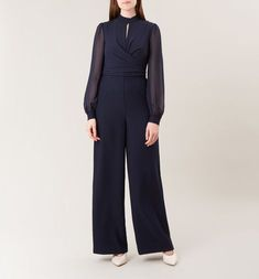 All-in-one elegance. Grey Bedroom Colors, Navy Fabric, Hobbs, Occasion Dresses, Wrap Style, Dressing, Elegant, Jumpsuits, Model