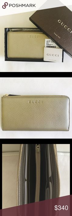 Nib Authentic Gucci Cellarius Wallet BeigeMettalic New in box Gucci Cellarius Metallic Golden Beige Wallet/Clutch    Comes in original box with all designer cards.    Check our other items for more incredible finds and follow us on Instagram @Designer_Cravings.  We ship next day! Gucci Bags Wallets