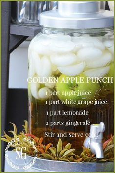 Golden Apple Punch recipe FALL DRINK BAR This could be our non-alcoholic signature beverage! It sounds delicious Drink Bar, Food And Drink, Party Drinks, Cocktail Drinks, Cocktails, Bourbon Drinks, Refreshing Drinks, Summer Drinks, Fall Recipes