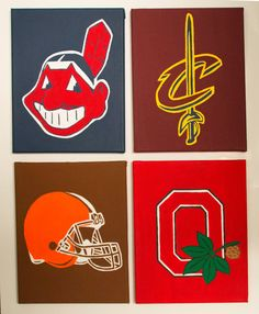 All canvases are hand-painted and made to order. Size: (larger sizes available upon request) If youd like to change one of the teams, please indicated in Note to Seller box. I can do almost any team. Please inquire about custom orders. Cleveland Team, Cleveland Browns Football, Cleveland Indians, Cleveland Rocks, Oregon Ducks Football, Ohio State Football, Ohio State Buckeyes, Oklahoma Sooners, American Football