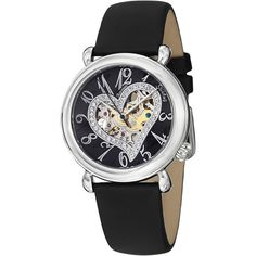 Stuhrling Original Woman's Aphrodite Delight Automatic Leather Strap Watch featuring polyvore, women's fashion, jewelry, watches, black, swarovski crystal jewelry, skeleton wrist watch, automatic movement watches, open heart jewelry and stuhrling watches
