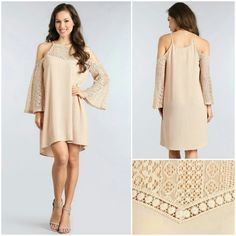 "Taupe Bell Sleeve Dress This is a beautiful shift dress with even more pretty detailing with the lace neckline and bell sleeves.  The dress is slightly sheer.   Small:  Length 33"", Bust 36"" Medium:  Length 33"", Bust 38"" Large:  Length 34"", Bust 40""  100% Polyester Dresses Mini"
