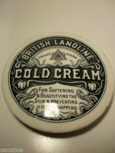 RARE COLD CREAM BRITISH LANOLINE TRANSFER PRINTED POT LID