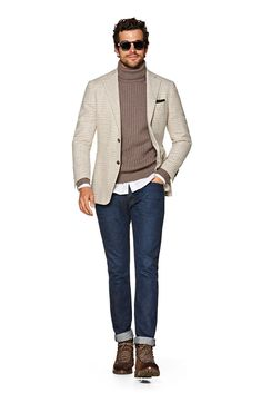 Suitsupply Jackets: We couldn't be more proud of our tailored jackets. Blazer Outfits Men, Outfits Hombre, Sweater Outfits, Winter Outfits Men, Stylish Mens Outfits, Mens Roll Neck Sweater, Suit Supply, Checked Blazer, Gentleman Style