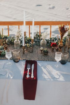 Dreamy Desert Wedding Inspiration by Thunder & Love Little Mermaid Wedding, The Little Mermaid, Reception Table, Wedding Reception, Place Settings, Diy Flowers, Thunder, Tablescapes, Diy Wedding