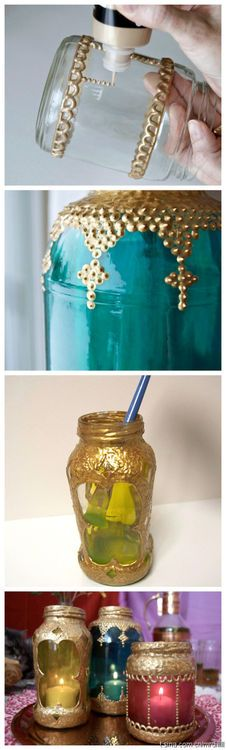 Decorate jars with gold glue