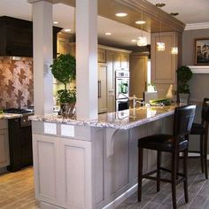 1000 images about breakfast bar island on pinterest for Converting galley kitchen to open kitchen