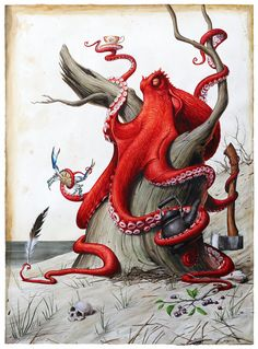 """Saatchi Art is pleased to offer the painting, """"The Naturalist,"""" by Victor Grasso. Original Painting: Watercolor on Paper. Octopus Drawing, Octopus Art, Octopus Tentacles, Octopus Tattoos, Illustration Art, Illustrations, Desenho Tattoo, Ocean Art, Sea Creatures"""