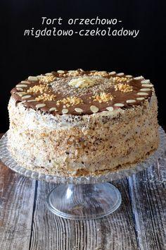 Tort orzechowo-migdałowo-czekoladowy – Smaki na talerzu Polish Desserts, Polish Recipes, Cookie Desserts, Holiday Desserts, Raw Food Recipes, Sweet Recipes, Baking Recipes, Pumpkin Cheesecake, Cheesecake Recipes