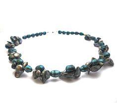 Grey blue freshwater pearls necklace grey blue barok door deBATjes