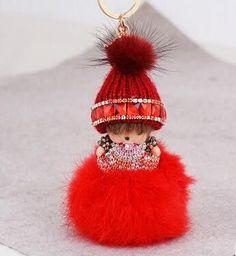 Hot cute monchichi cartoon dolls inlaid wool hat girl keychain car key ring holder crystal handbag charm accessories